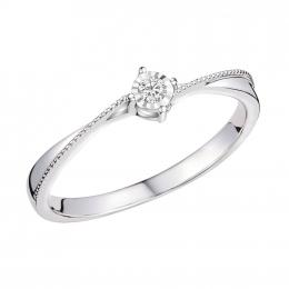 Citigems 10K White Gold Elegant Twist Elistar Diamond Ring