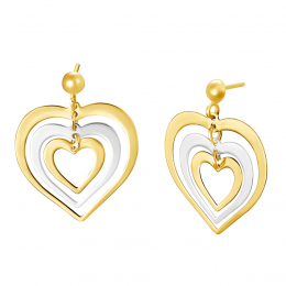 Citigems 916 Gold Deep In My Heart Earrings