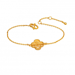 Citigems 999 Pure Gold Oriental Bloom Clover Bracelet