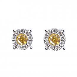 Citigems 18K White Gold Fancy Colored Diamond Earrings