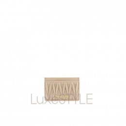 Miu Miu Matelasse Leather Beige / Nude Cardholder (Pristine)