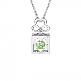 Citigems 10K Spinning L.O.V.E. Green Garnet Diamond Pendant