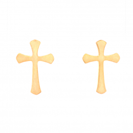 Citigems 916 Gold Golden Cross Earrings