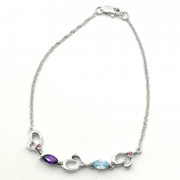 Citigems 10K White Gold Multi Gems Benetto Bracelet