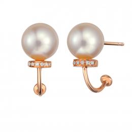 Citigems 18K Rose Gold Elegant Pearl Earrings