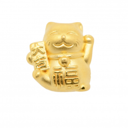 Citigems 999 Pure Gold Fortune Cat Charm