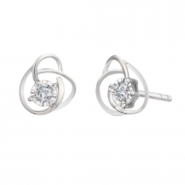 Citigems 10K White Gold Rose Starlite Diamond Earrings
