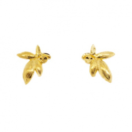 Citigems 999 Pure Gold New Leaf Earrings
