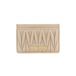 Miu Miu Matelasse Leather Beige / Nude Cardholder