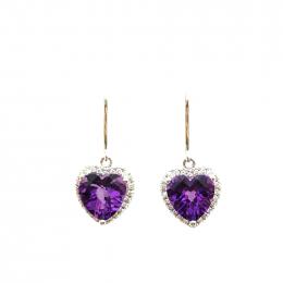 Citigems White Gold Amethyst Diamond Earrings
