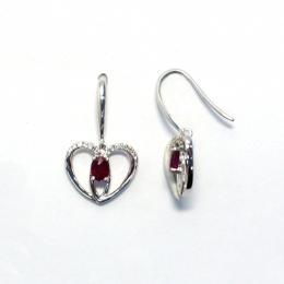 Citigems White Gold Ruby Diamond Earrings