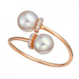 Citigems 18K Rose Gold Refined Pearl Ring